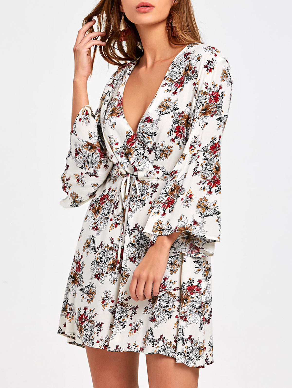 Flare Sleeve Floral Surplice Dress - COLORMIX M