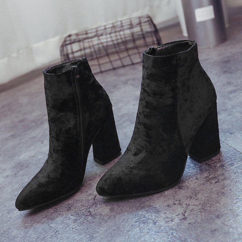 Pointed Toe Ankle Chunky Boots - BLACK 35