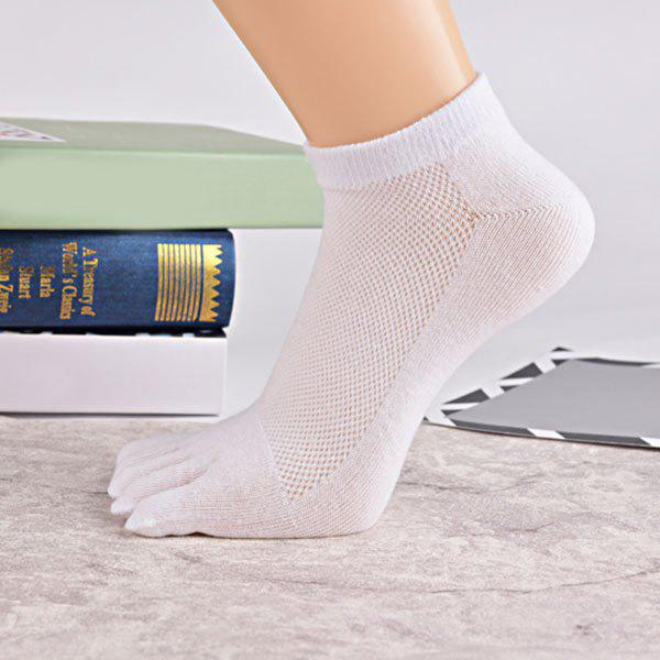Cotton Blend Five Finger Toe Ankle Socks - WHITE