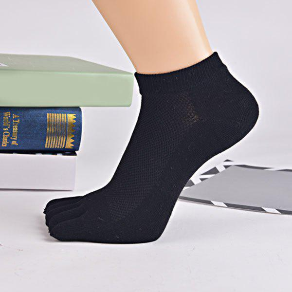 Cotton Blend Five Finger Toe Ankle Socks - BLACK