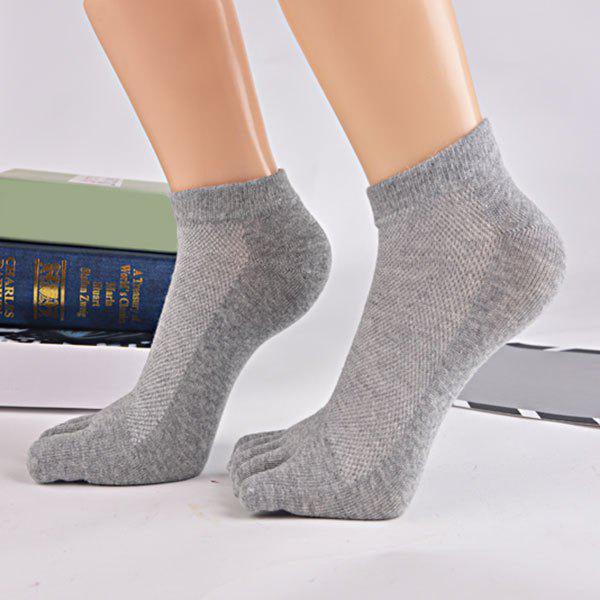 Cotton Blend Five Finger Toe Ankle Socks - GRAY
