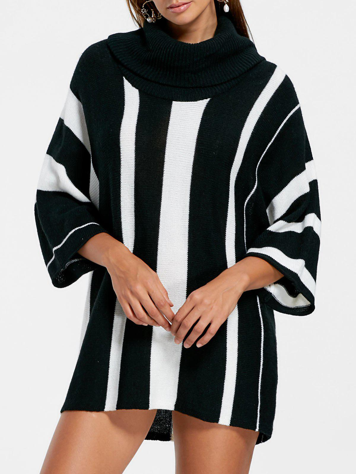 Vertical Striped Turtleneck Sweater - BLACK STRIPE S