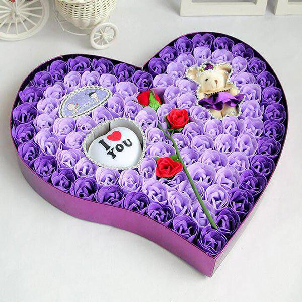 Valentine's Day Rose Flowers Heart Shape Novelty Gift Light - PURPLE
