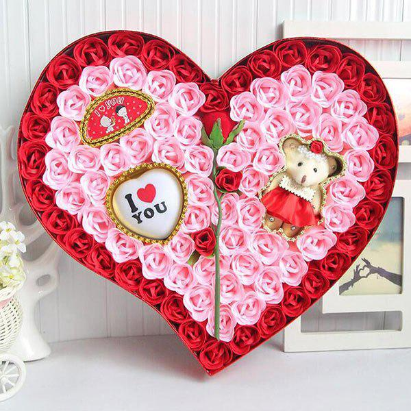 Valentine's Day Rose Flowers Heart Shape Novelty Gift Light - RED