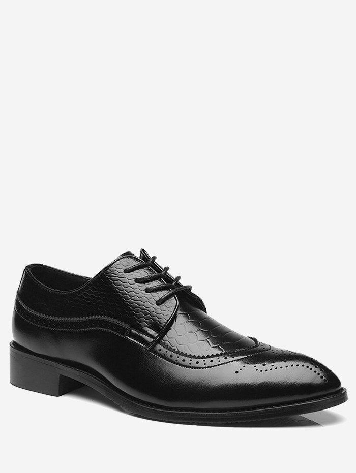 Pointed Toe Embossing Formal Shoes - BLACK 40