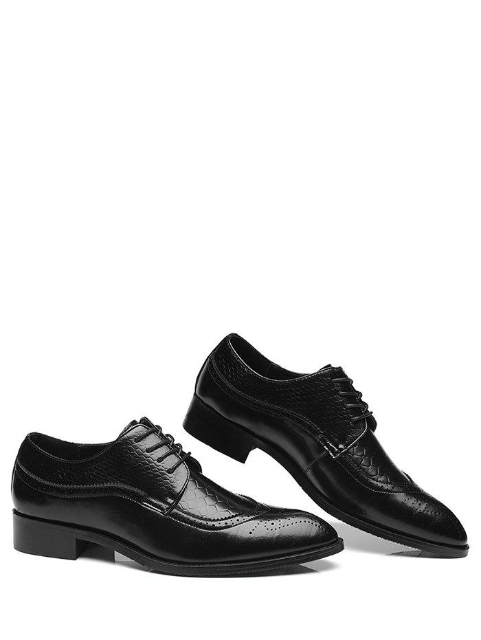 Pointed Toe Embossing Formal Shoes - BLACK 43