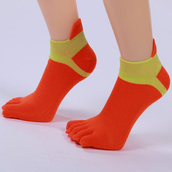 Cotton Blend Five Fingers Toe Ankle Socks - RED