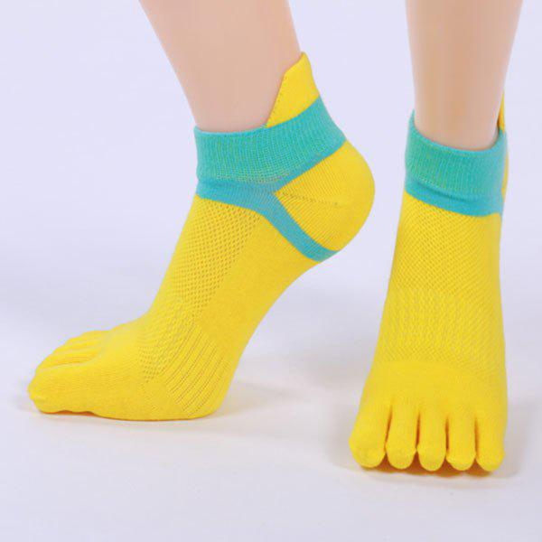 Cotton Blend Five Fingers Toe Ankle Socks - YELLOW