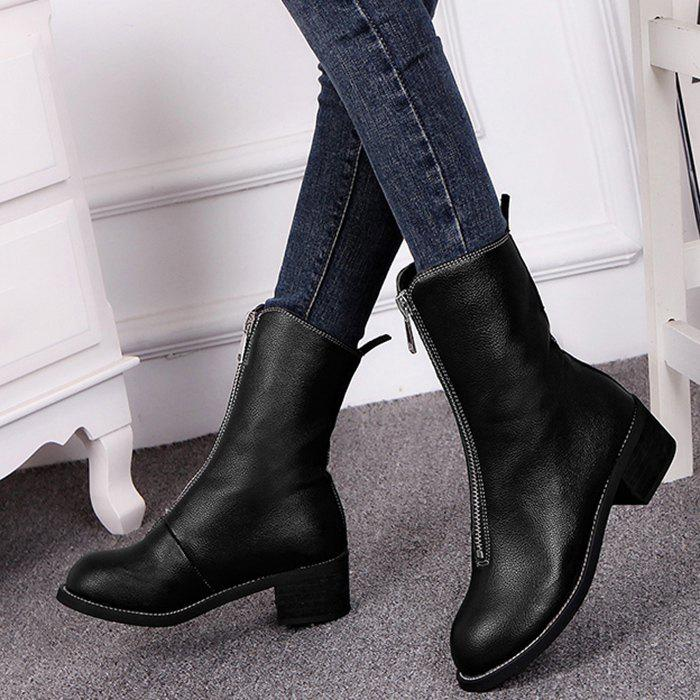 Zip Short Faux Leather Boots - BLACK 39