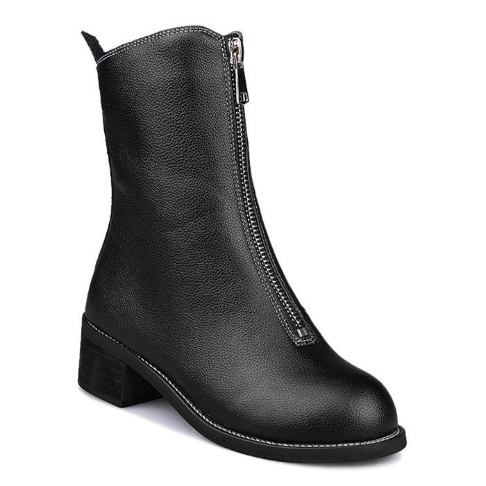 Zip Short Faux Leather Boots - BLACK 35