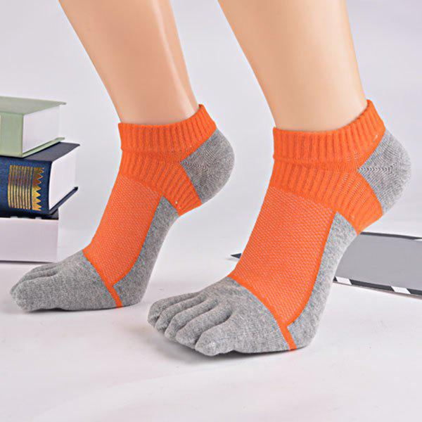 Color Block Five Toes Ankle Socks - ORANGE