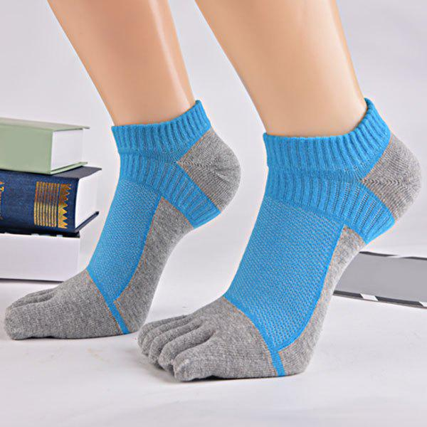 Color Block Five Toes Ankle Socks - BLUE