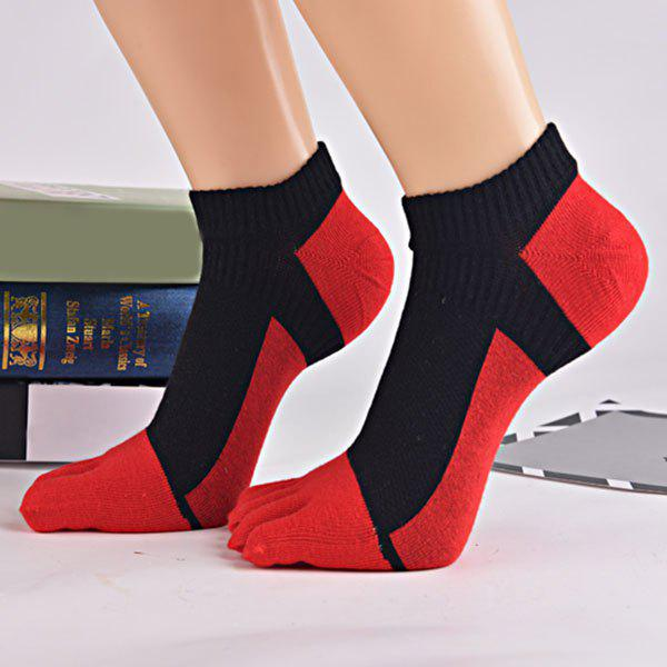 Color Block Five Toes Ankle Socks - RED