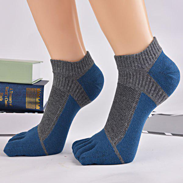 Color Block Five Toes Ankle Socks - PEARL INDIGO BLUE