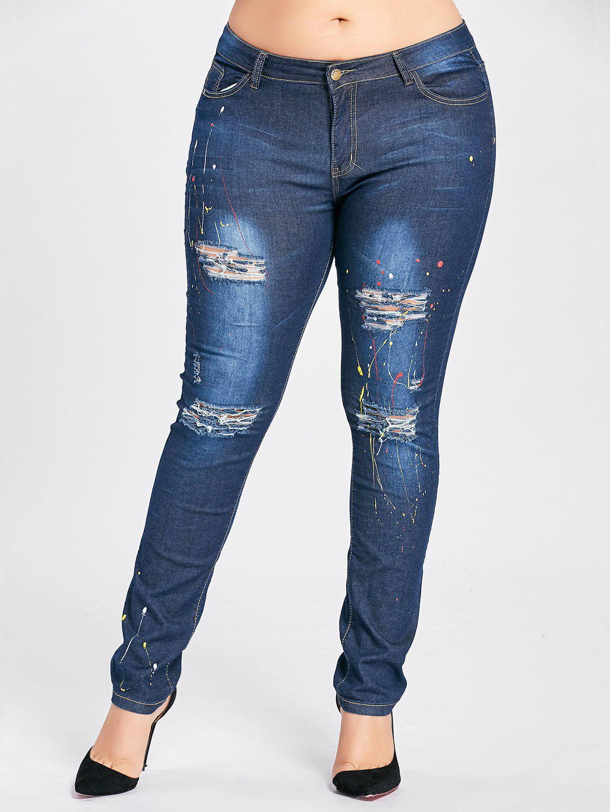 Plus Size Splash Ripped High Waist Jeans - CERULEAN 3XL