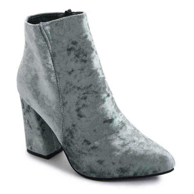 Pointed Toe Ankle Chunky Boots - GRAY 35