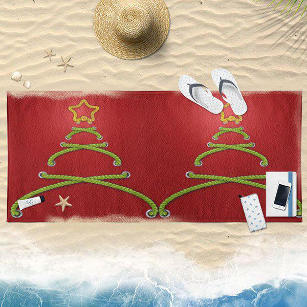 Abstract Christmas Tree Bath Towel - RED 75CM*150CM
