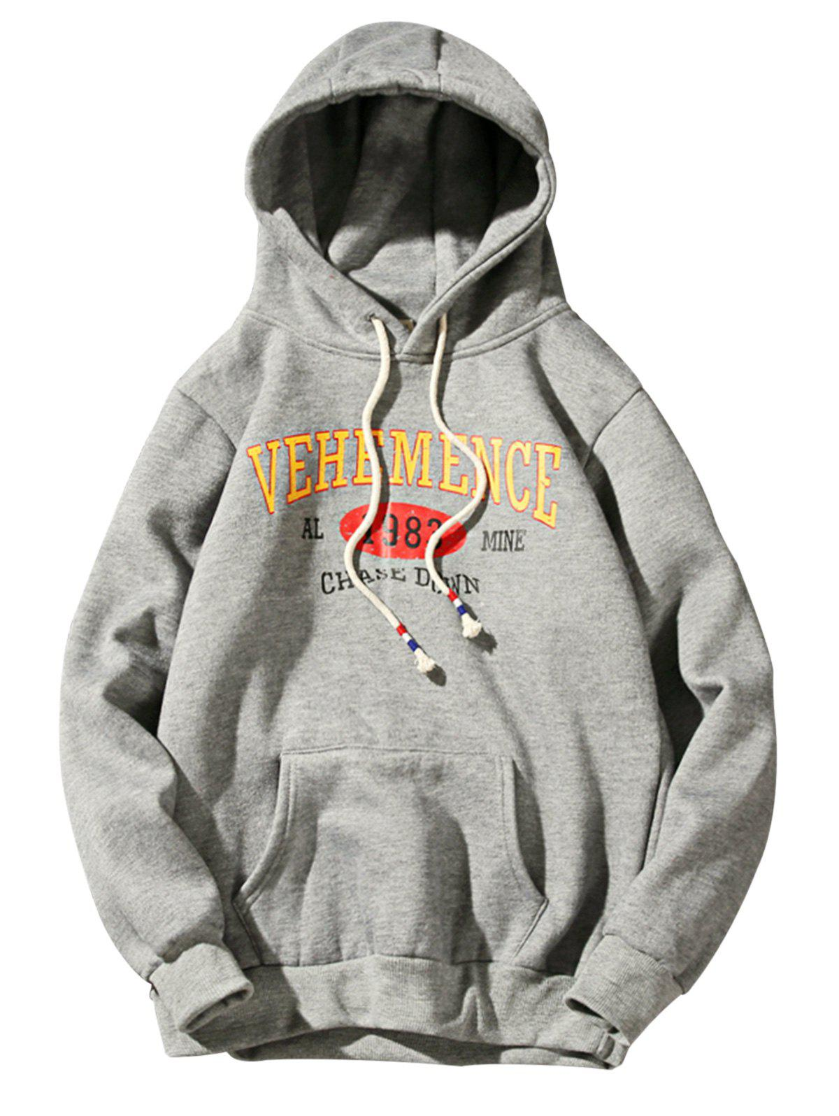 Fleece Graphic Print Pullover Hoodie - DEEP GRAY L