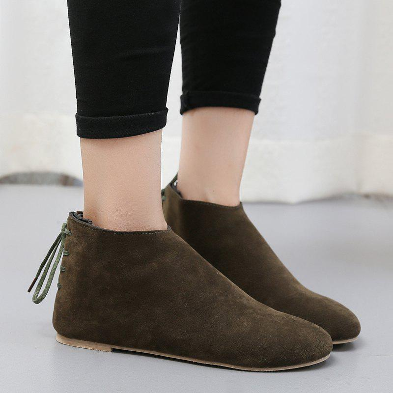 Ankle Flat Pointed Toe Boots - ARMY GREEN 35