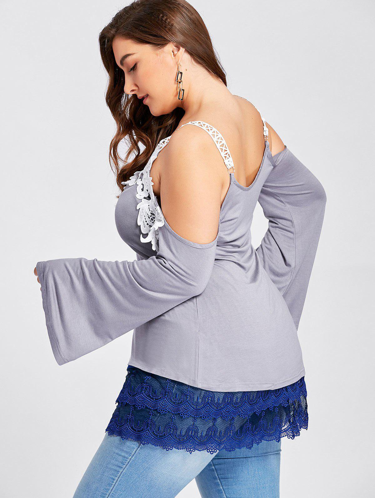 Plus Size Tiered Sheer Lace Extender Skirt - BLUE 2XL