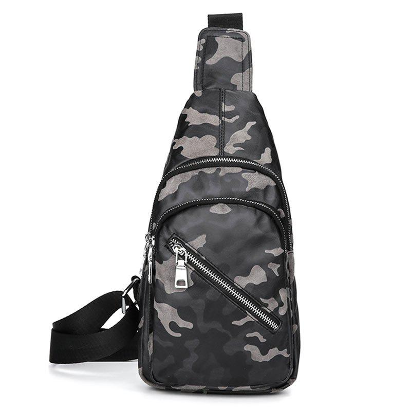 Faux Leather Camouflage Pattern Chest Bag - GRAY
