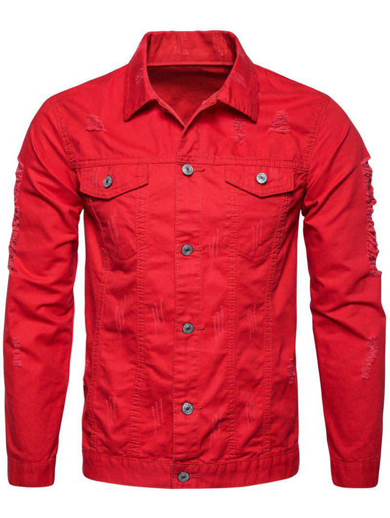 Distressed Button Up Cargo Jacket - RED L