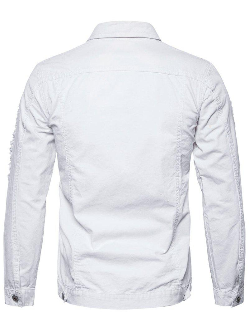 Distressed Button Up Cargo Jacket - WHITE M