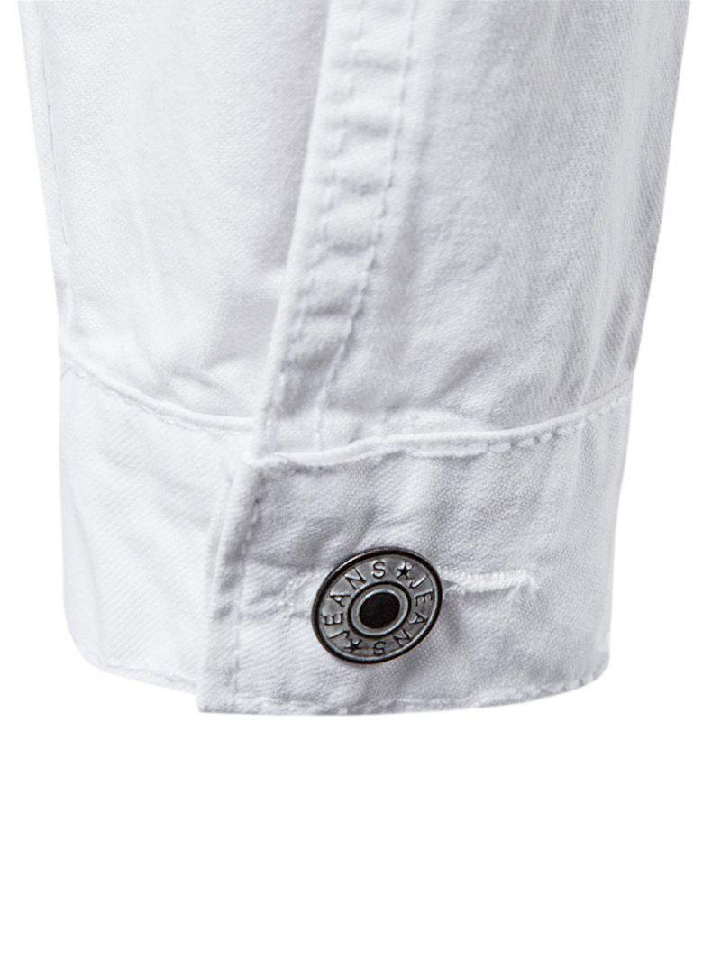 Distressed Button Up Cargo Jacket - WHITE L
