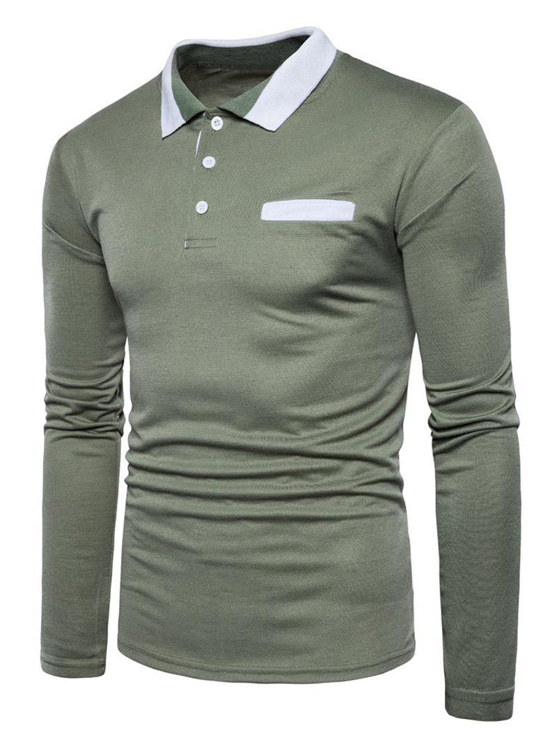 Long Sleeve Edging Polo T-shirt - ARMY GREEN 2XL