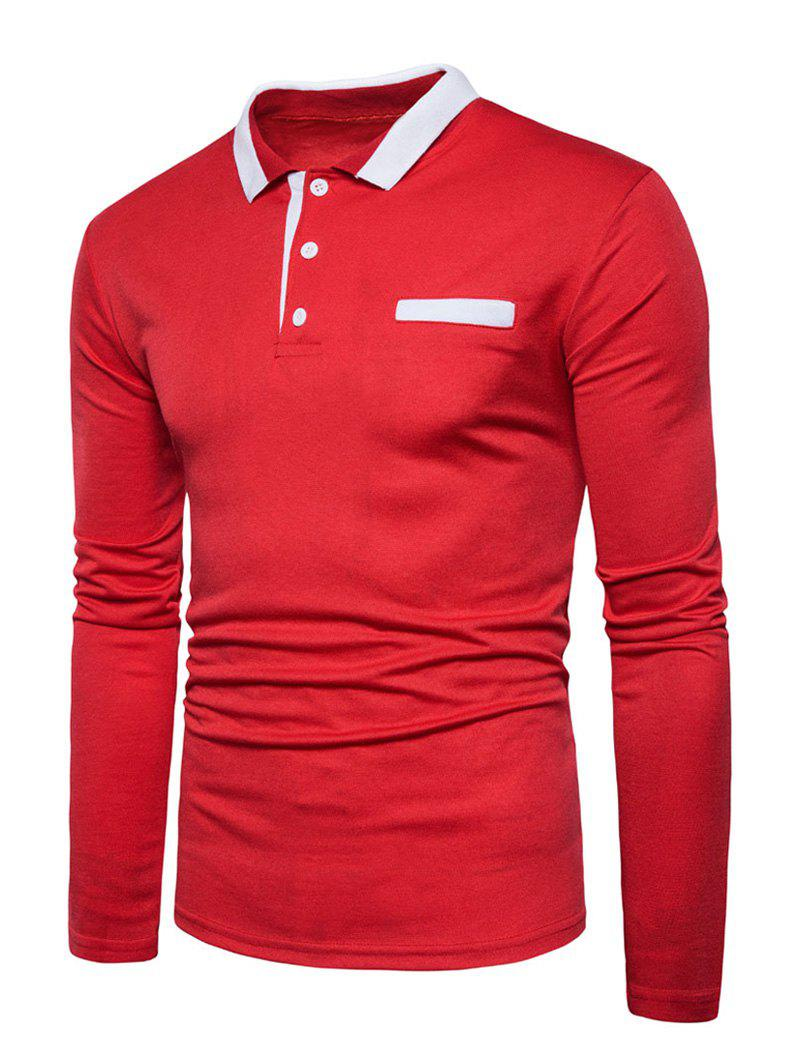 Long Sleeve Edging Polo T-shirt - RED M