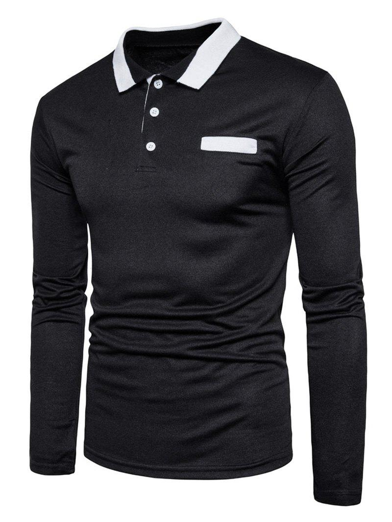 Long Sleeve Edging Polo T-shirt - BLACK L