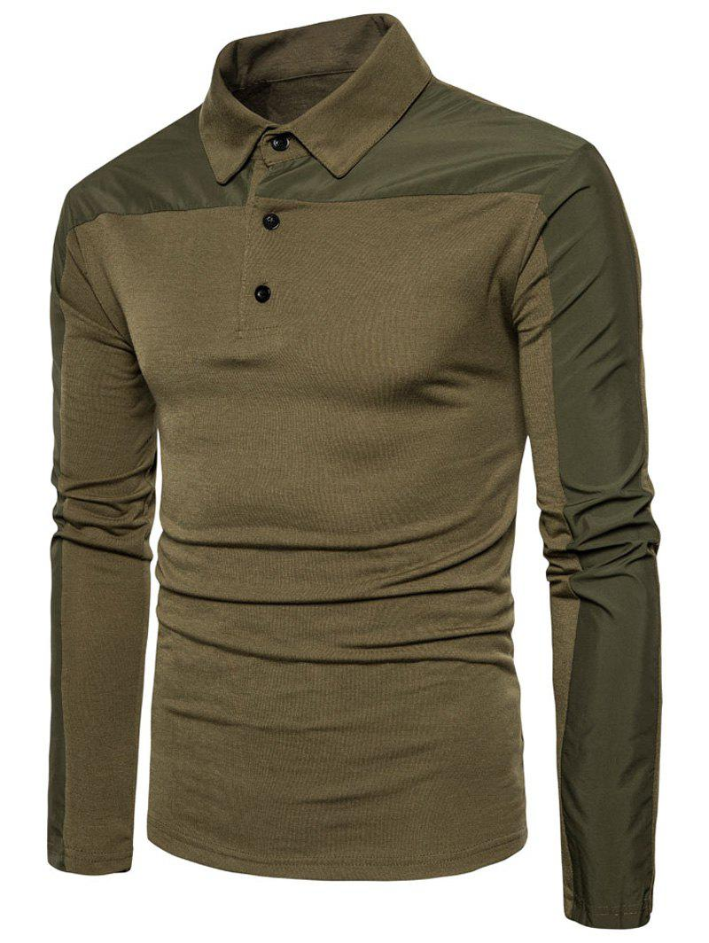 Polyester Panel Long Sleeve Polo T-shirt - ARMY GREEN M