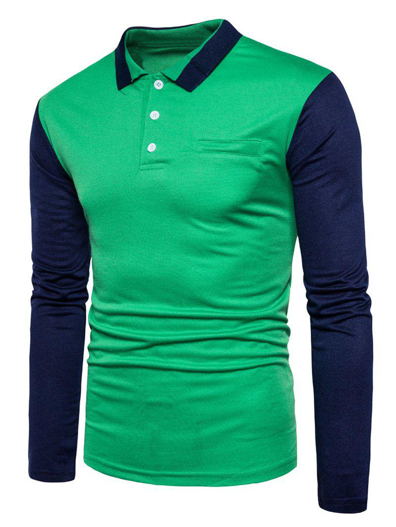 Long Sleeve Color Block Polo T-shirt - GREEN XL