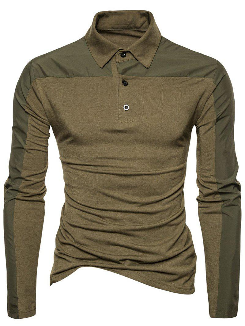 Polyester Panel Long Sleeve Polo T-shirt - ARMY GREEN 2XL