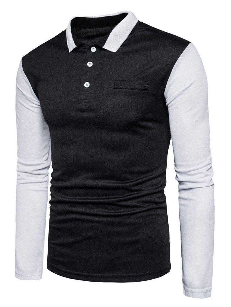 Long Sleeve Color Block Polo T-shirt - BLACK 2XL