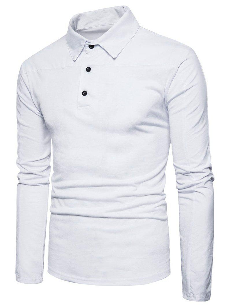 Polyester Panel Long Sleeve Polo T-shirt - WHITE M