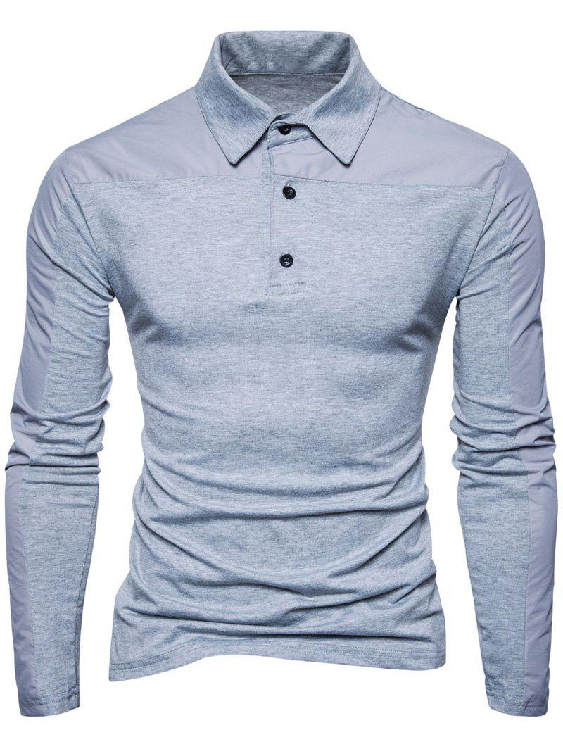 Polyester Panel Long Sleeve Polo T-shirt - LIGHT GRAY S