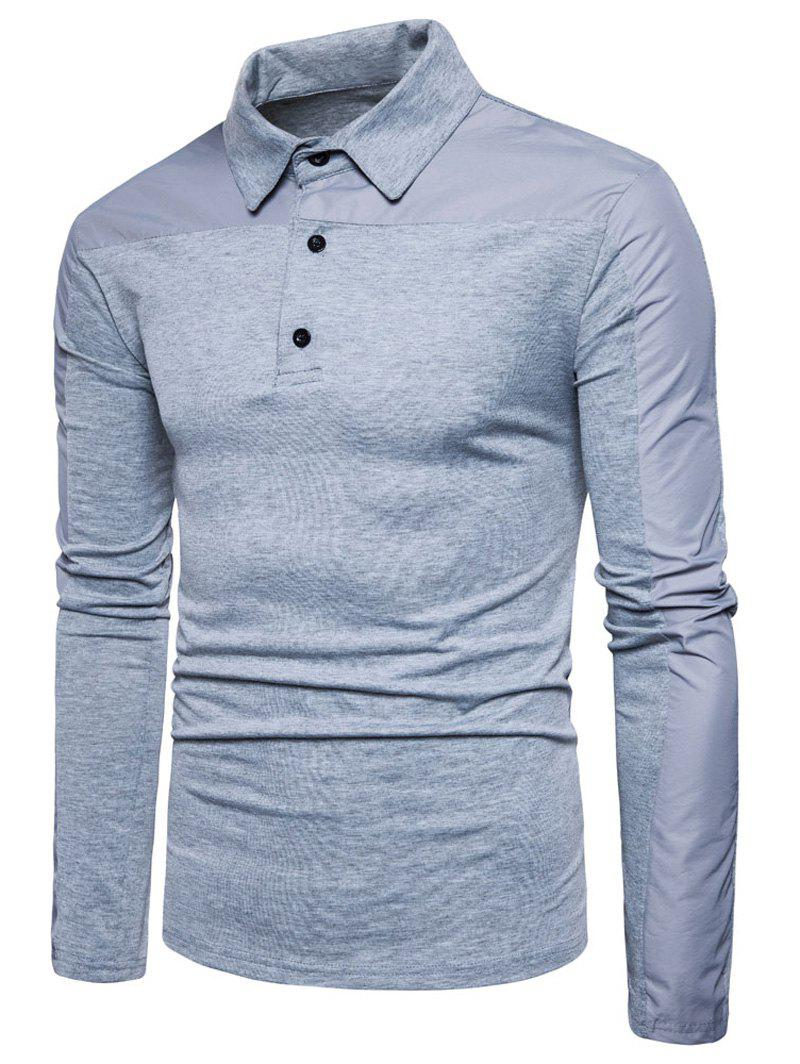 Polyester Panel Long Sleeve Polo T-shirt - LIGHT GRAY M