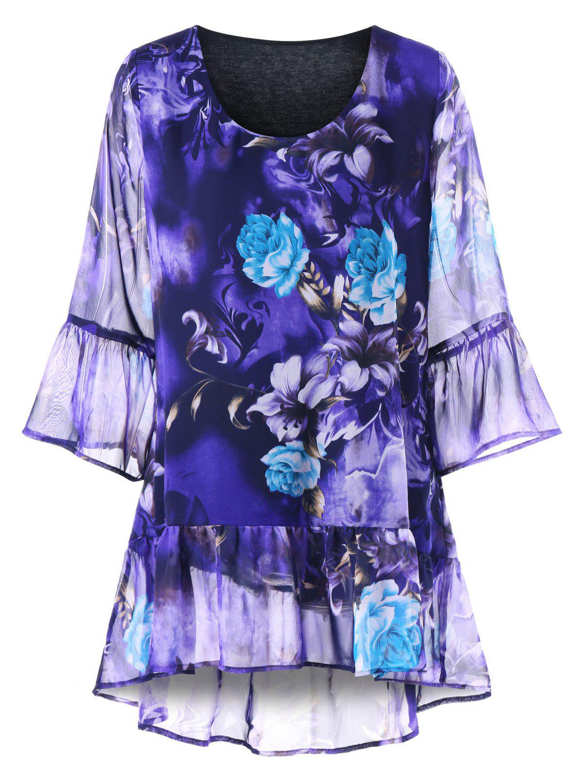 Plus Size Floral Flounced Blouse - BLUE VIOLET 4XL
