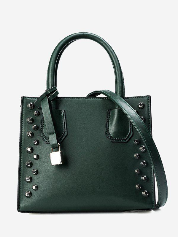 Stud Faux Leather Handbag - GREEN