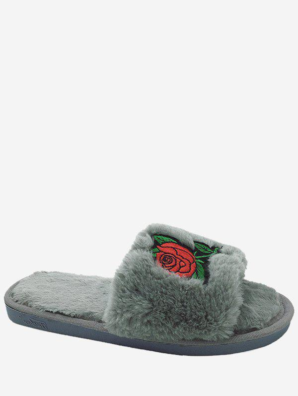 Embroidery Flower Faux Fur Open Toe Slippers - GRAY SIZE(38-39)