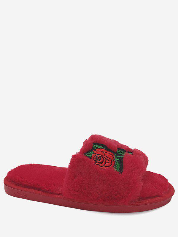 Embroidery Flower Faux Fur Open Toe Slippers - RED SIZE(40-41)