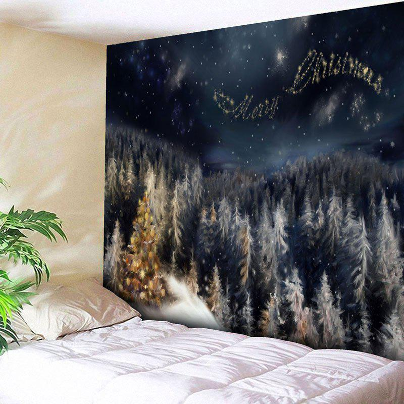 Merry Christmas Tree Wall Art Tapestry - BLACK BLUE W79 INCH * L59 INCH
