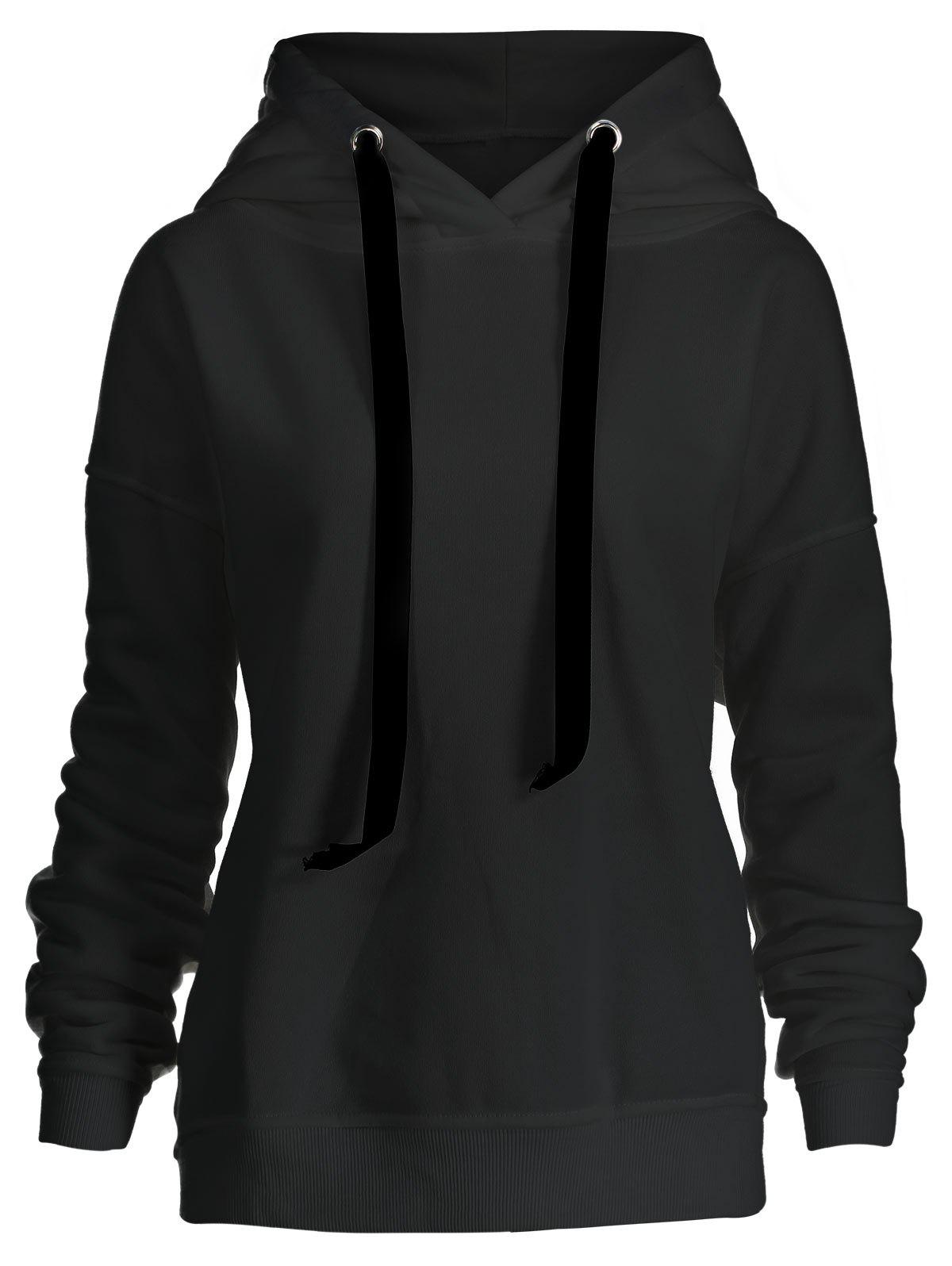 Side Zipper Plus Size Drawstring Hoodie - BLACK 3XL