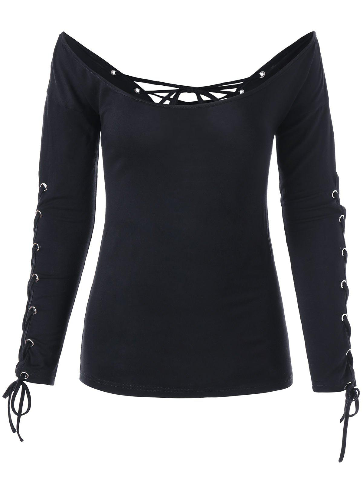 Halloween Off The Shoulder Lace Up Top - BLACK 2XL