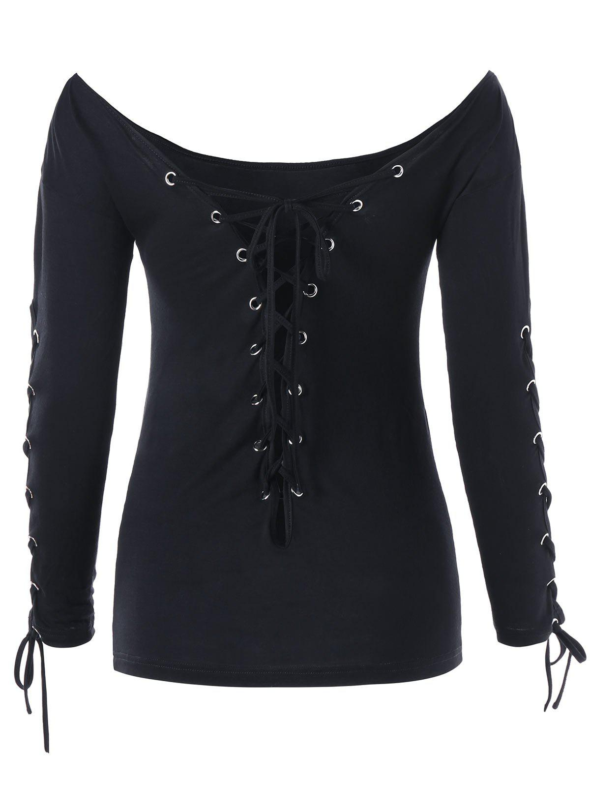 Halloween Off The Shoulder Lace Up Top - BLACK XL