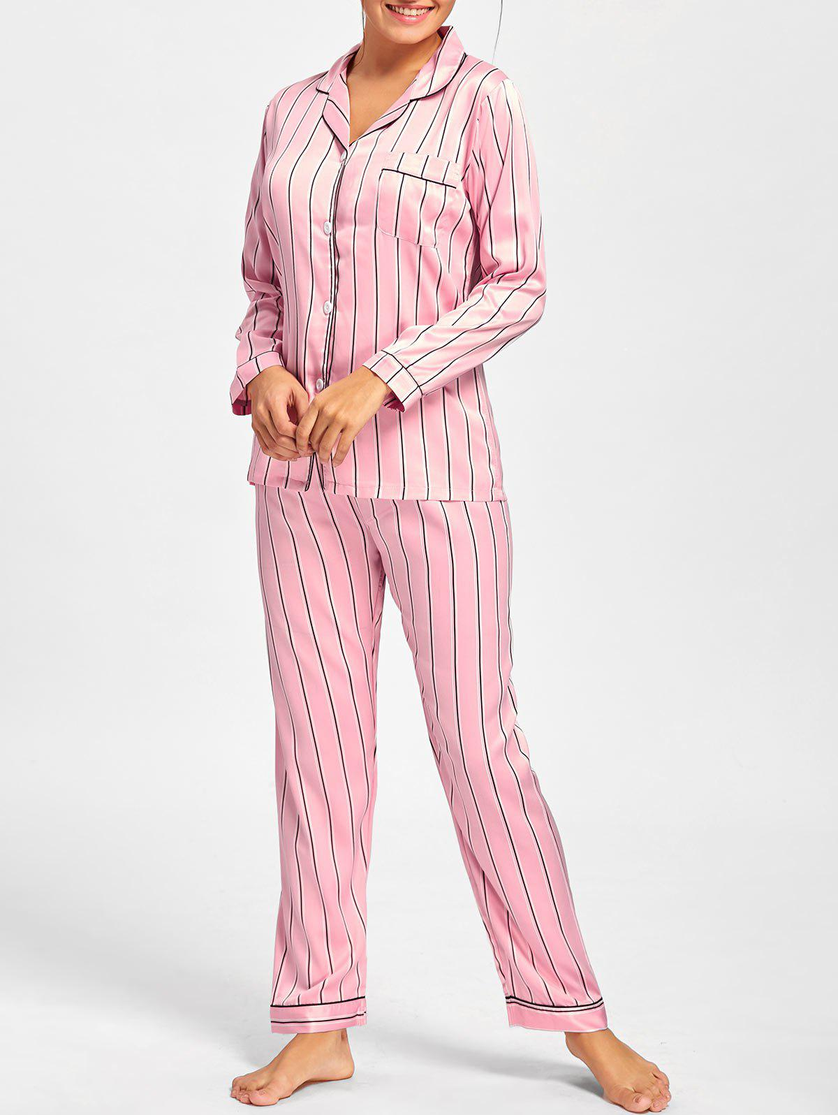 Stripe Satin Shirt Pajama Set - PINK XL