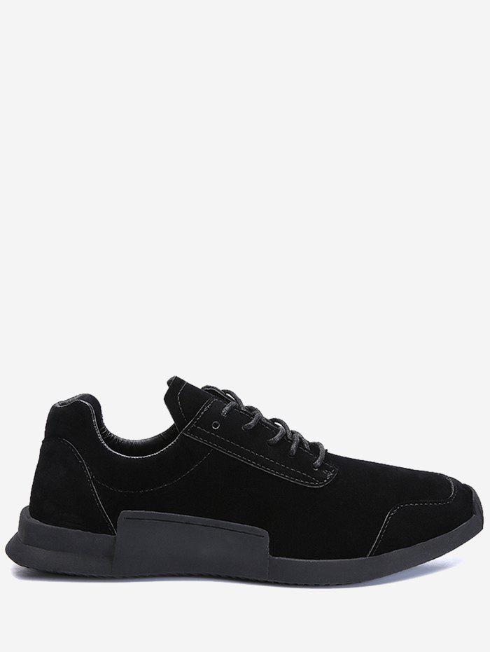 Tie Up Round Toe Sneakers - BLACK 40