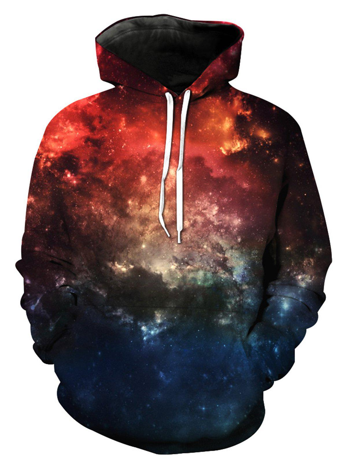 Sweat à Capuche Imprimé Galaxie 3D à Manches Longues - multicolorcolore XL