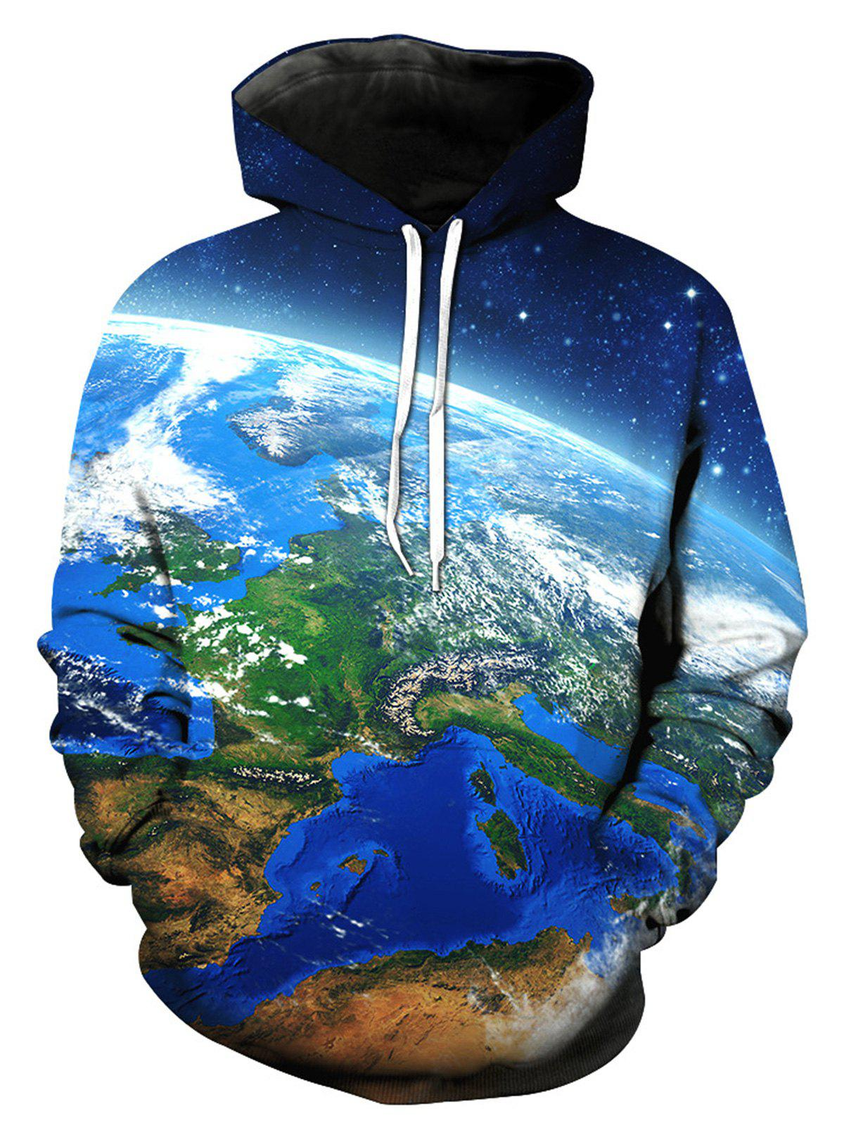 3D Galaxy Earth Print Pullover Hoodie - COLORMIX 2XL